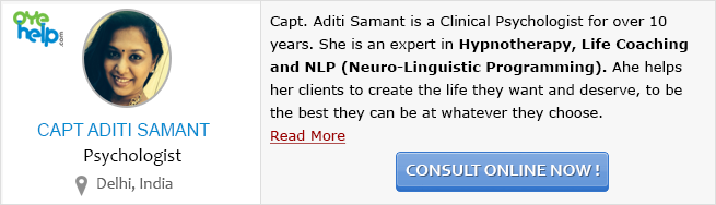 Consult Capt. Aditi Samant - clinical psychologist on OyeHelp.com for